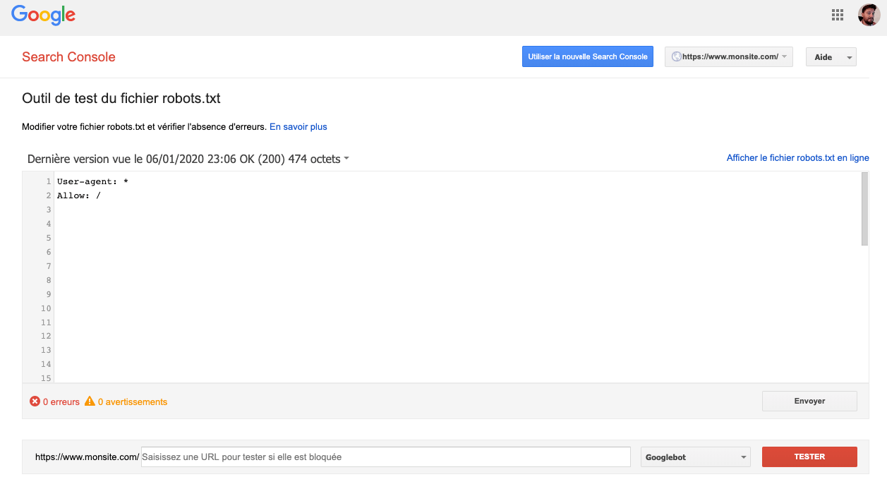 search console google robots txt